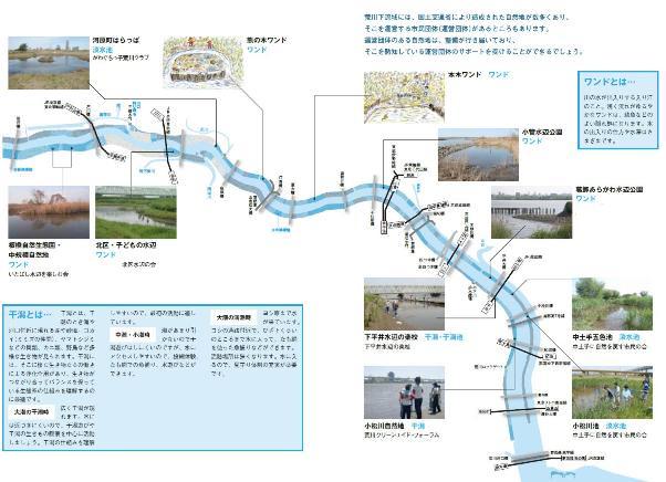 荒川下流の自然地と学習拠点の地図